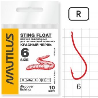 Крючок Nautilus Sting Красный червь S-1121R № 6