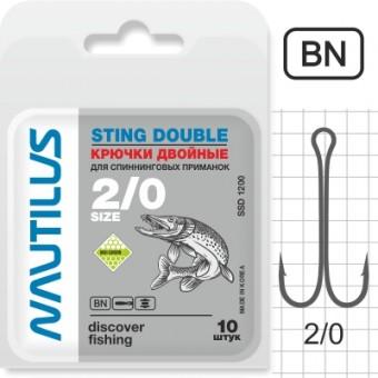 Крючок двойной Nautilus Sting Double SSD 1200 №2/0